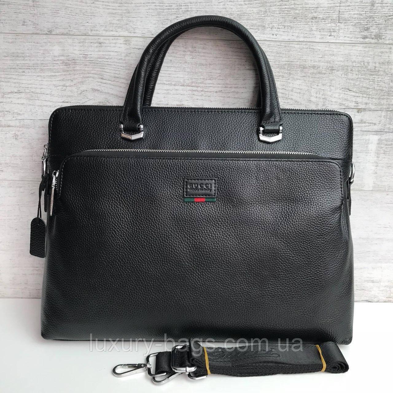 Мужской кожаный деловой портфель Gucci Гуччи