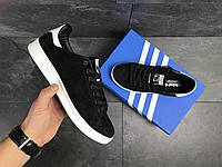 Кроссовки Adidas Stan Smith  черны с белым ( замш)
