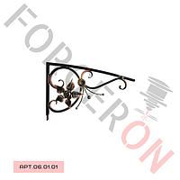 Кованый козырек, навес с розой 800×500мм,20×20мм