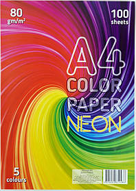 """Папір офісний кольоровий (неонова) A4 """"Колорит-Тон"""" 100 аркушів, 5 кольорів"""