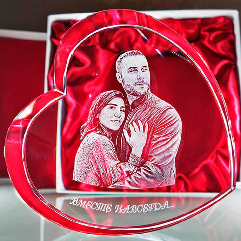 Купить 3D фотография в хрустальном сердце - Подарок жене, подарки девушке, подарок любимой женщине