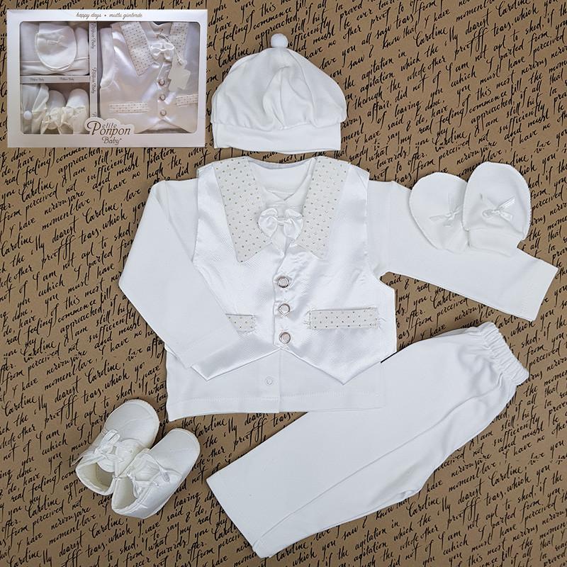 Костюм для крещения мальчика 56-62 6 предметов арт 217