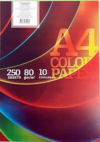 """Бумага офисная цветная A4 """"Колорит-Тон"""" 250 листов, 10 цветов"""