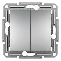 Переключатель двухклавишный проходной Schneider Electric Asfora Алюминий (EPH0600161)