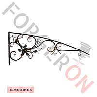 Кованый козырек, навес с розой 1800×700мм,20×20мм
