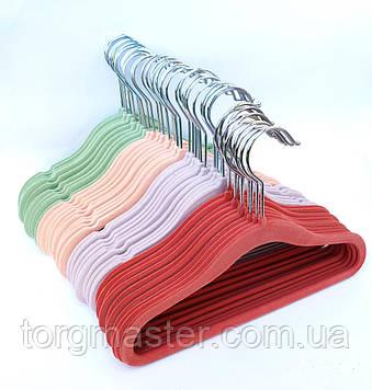 Детские вешалки бархатные цветные, 29см, 10шт