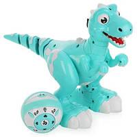 Интерактивный музыкальный Динозавр на радиоуправлении 17 см Jiabaile, бирюзовый. Подарок детям от 4 лет