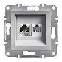 Розетка UTP+телефон компьютерная и телефонная Schneider Electric Asfora Алюминий (EPH4900161)