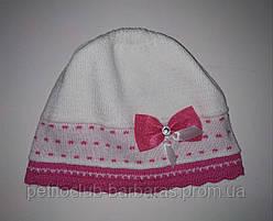 Детская тонкая трикотажная шапка с бантиком для девочки белая (AJS, Польша)