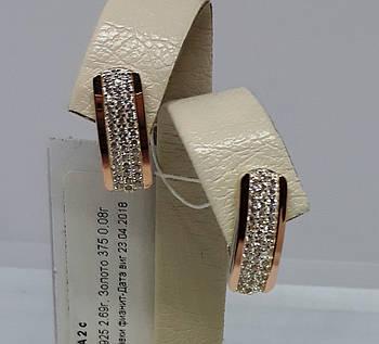 """Шикарные женские Серебряные серьги с золотыми вставками (пластинами) """"Тройка 2"""""""