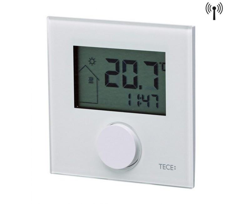 Кімнатний терморегулятор RTF-D, LCD дісплей, безпровідний (2xAAA), з датчиком, скло біле 77420035