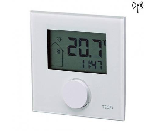 Кімнатний терморегулятор RTF-D, LCD дісплей, безпровідний (2xAAA), з датчиком, скло біле 77420035, фото 2