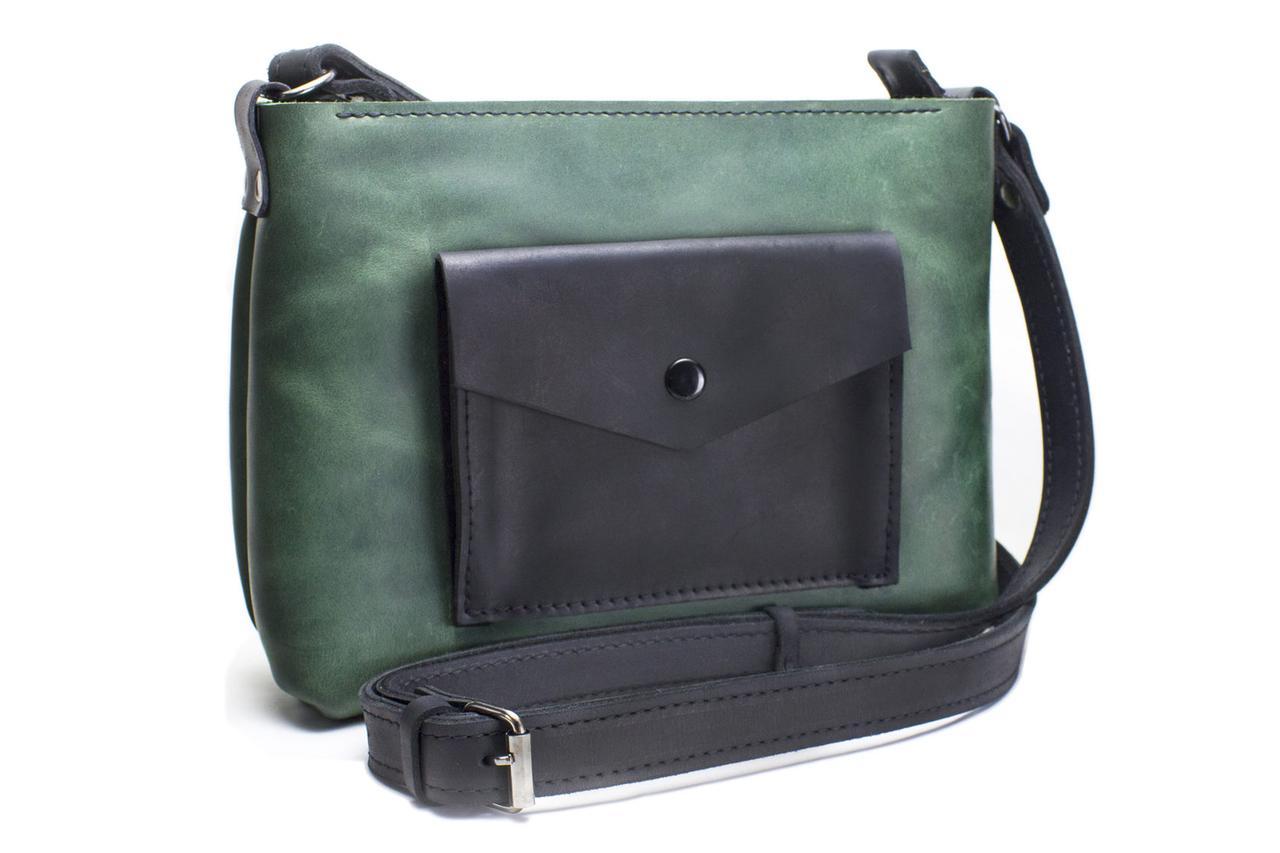 Женская кожаная сумка Bossy зеленая