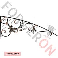 Кованый козырек, навес с розой 2300×750мм,20×20мм