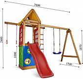 Детский игровой комплекс Sportbaby Babyland-25 с горкой и качелями 2400х3100х1540 мм