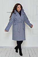 Пальто женское кашемировое джинс демисезонное