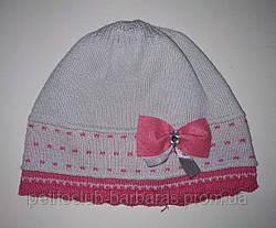 Детская тонкая трикотажная шапка с бантиком для девочки серая (AJS, Польша)