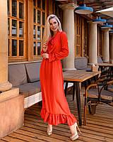 Женское легкое платье из шелка Армани с рюшами (универсал 40-46) талия на резинке