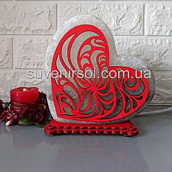 Соляний світильник Серце кольорове 3