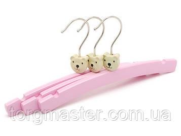 Детские деревянные вешалки розового цвета , 26см