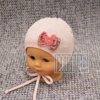 Однослойная р 42-46 6-12 мес трикотажная детская шапочка для малышей девочки на завязках весна 4406 Розовый 44