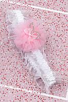 Повязка на голову детская Ушки с бантиком (розовая)