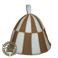 """""""Клетка"""" (коричневая), шапка для сауны"""
