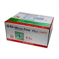 Шприци інсулінові BD Microfine 0.3 ml/U100-DEMI 100 шт.(Дитячий інсуліновий шприц Демі), фото 1
