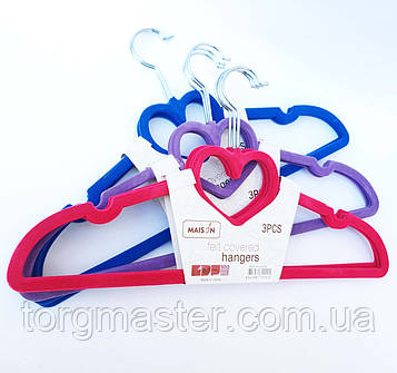 Вешалки флокированные сердечки цветные, 41см, 3шт