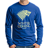 """Стильная мужская футболка с длинными рукавами с принтом """"Winter Is Coming"""", лонгслив - Фото"""