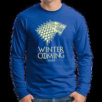 """Стильная мужская футболка с длинными рукавами с принтом """"Winter Is Coming"""", лонгслив синий"""