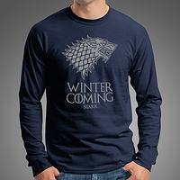 """Стильная мужская футболка с длинными рукавами с принтом """"Winter Is Coming"""", лонгслив темно-синий"""