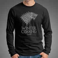 """Стильная мужская футболка с длинными рукавами с принтом """"Winter Is Coming"""", лонгслив черный"""