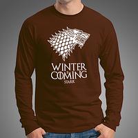 """Стильная мужская футболка с длинными рукавами с принтом """"Winter Is Coming"""", лонгслив коричневый"""