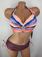 Раздельный купальник с высокими плавками Sisianna 35991 коричневый на  52 54 56 размер
