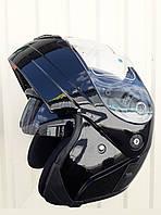 Шолом (Уцінка!) трансформер модуляр MP з подвійним визором чорний глянець, фото 1