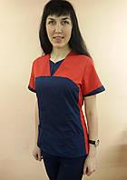 Женский медицинский костюм Мишка рубашечная ткань