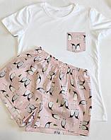 """Женская пижама из трикотажной футболки и шортиков """"Пингвины на пудровом"""" S"""