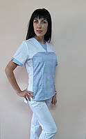 Женский медицинский костюм Мишка рубашечная ткань 44, Белый