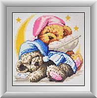 Алмазная мозаика Спящие мишки Dream Art 30002 25х25см 25 цветов, квадр.стразы, полная зашивка