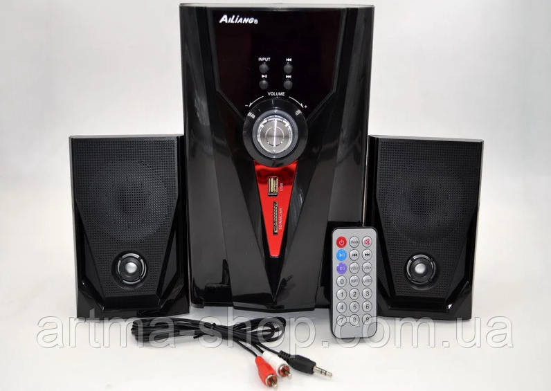 Акустические система 2.1 AiLiang USB Радио FM F35DC-DT Мощность 2x3 Вт + 10 Вт Колонки + сабвуфер