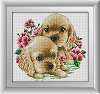 Алмазная мозаика Кокер-спаниели Dream Art 30275 33x36см 22 цветов, квадр.стразы, полная зашивка