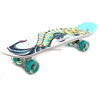 Пенни борд (скейт) с бесшумными светящимися колесами, ручка (рыба абстракция) C-40311, фото 1