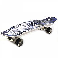 Пенни борд (скейт) с бесшумными светящимися колесами, ручка (темно-синий) C-40311, фото 1