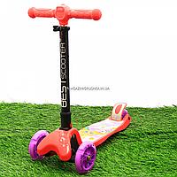 Самокат трехколесный детский (ПУ колеса, тихие, светящиеся, с фонариком на руле) 74107, фото 1