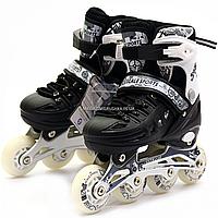 Детские ролики черные (размер 39-42, металл, светящиеся колёса ПУ) 2069914823-L, фото 1
