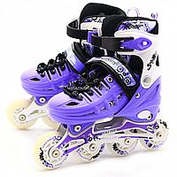 Детские ролики фиолетовые (размер 39-42, металл, светящиеся колёса ПУ) LF905L, фото 1
