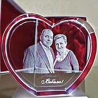 3D фотография в хрустальном кристалле - Подарок на юбилей 50 лет маме, папе