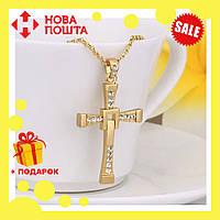 Крестик крест Вин Дизеля Доминика Торетто с цепочкой золото