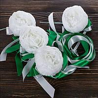 Свадебные украшения на ручки автомобиля с пионами и зелеными лентами BestWed (UR-10)